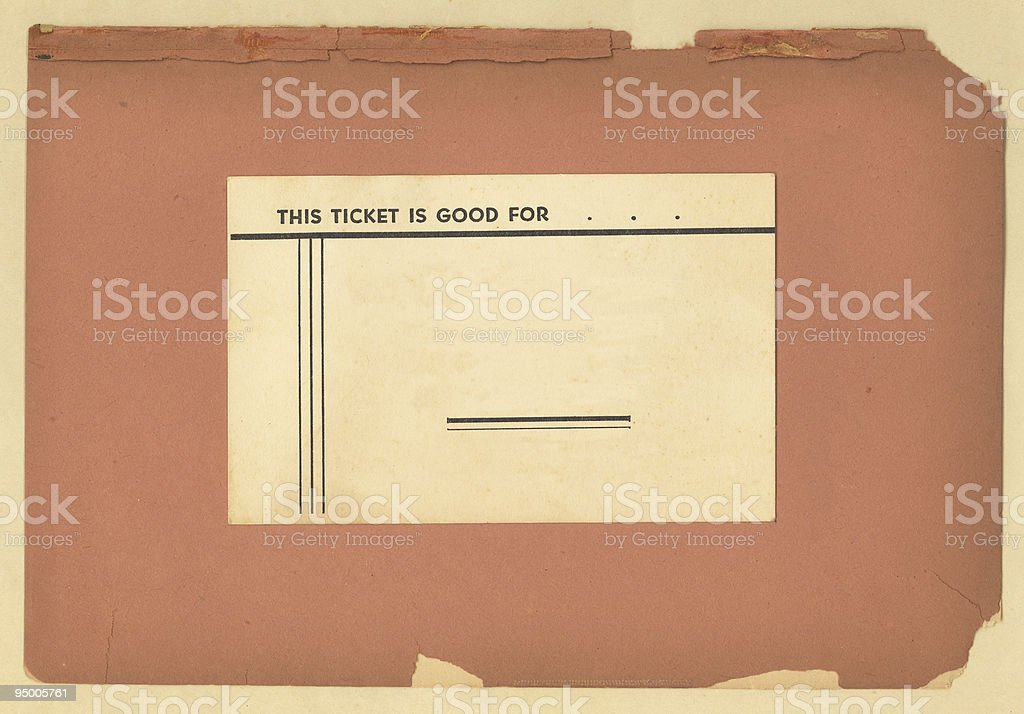 Vintage Ticket on Old Paper stock photo