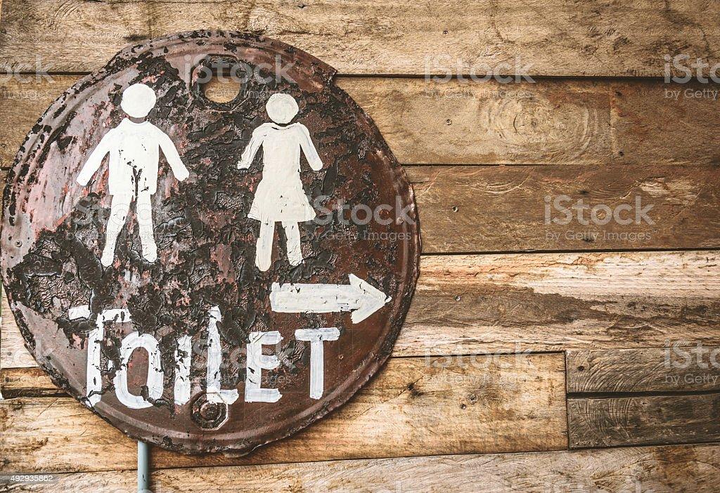 Vintage toilet sign stock photo