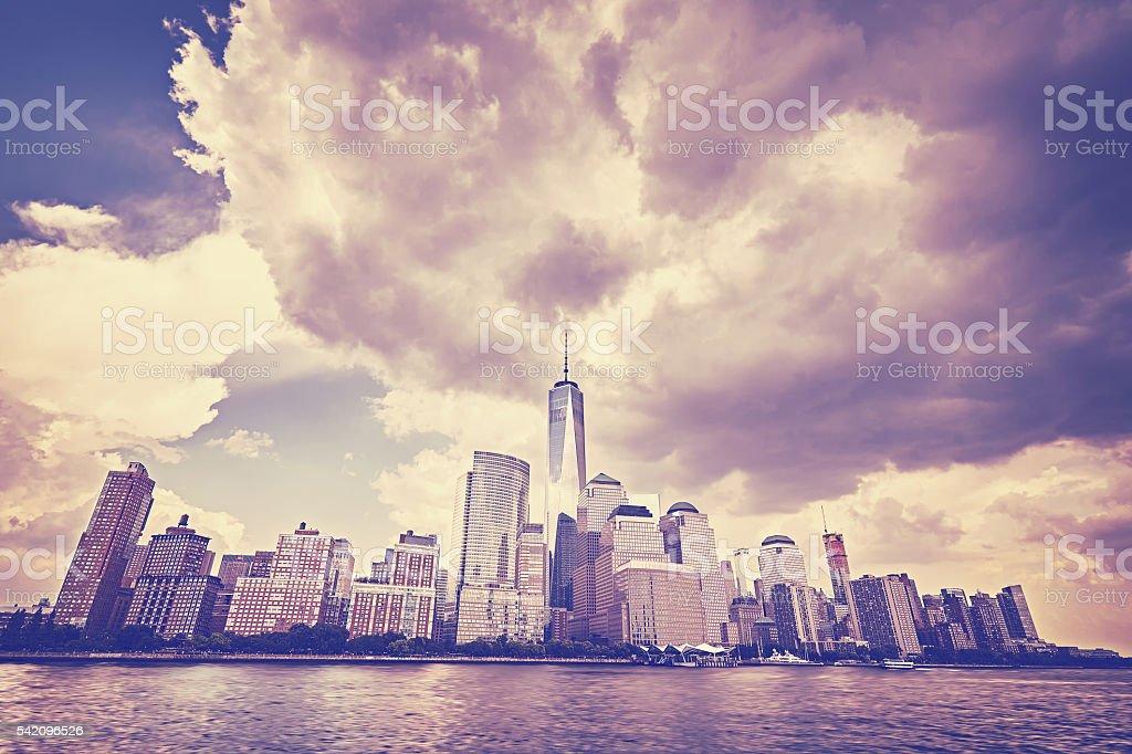 Vintage toned Manhattan skyline, NYC. stock photo