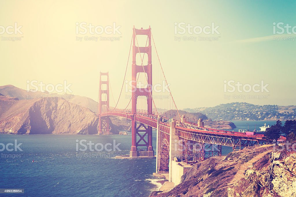 Vintage toned picture of the Golden Gate Bridge, San Francisco. stock photo