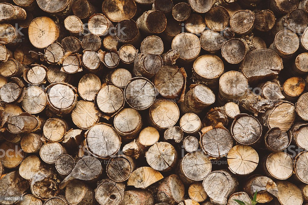 Vintage toned pile of logs stock photo