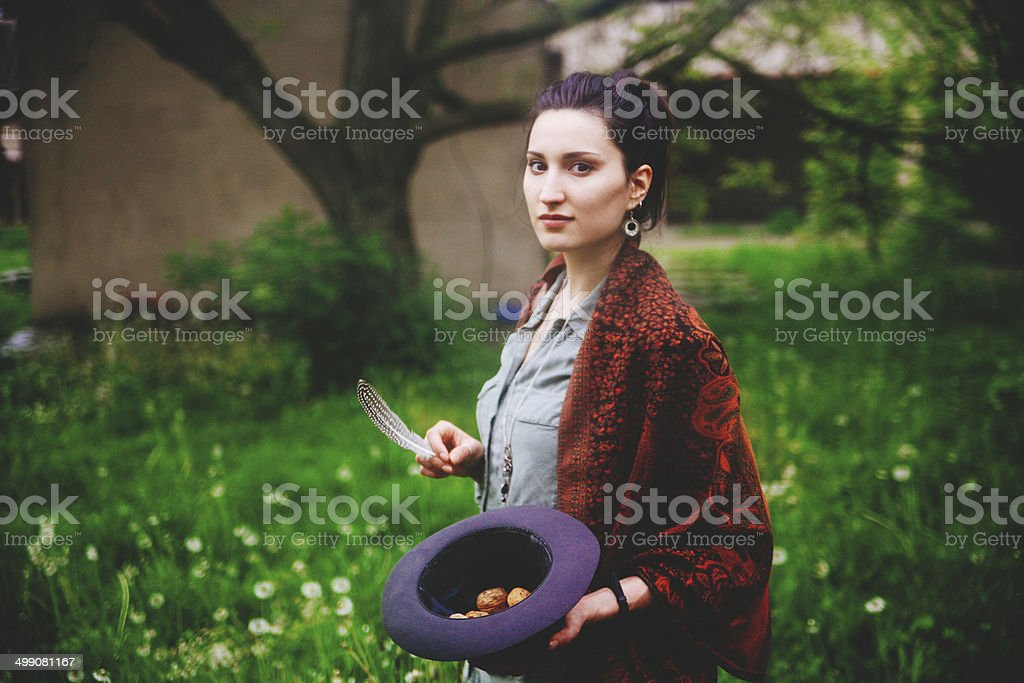 vintage toned portrait in nature stock photo