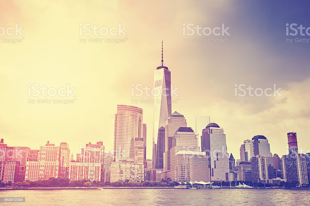 Vintage toned sunset over Manhattan, NYC. stock photo