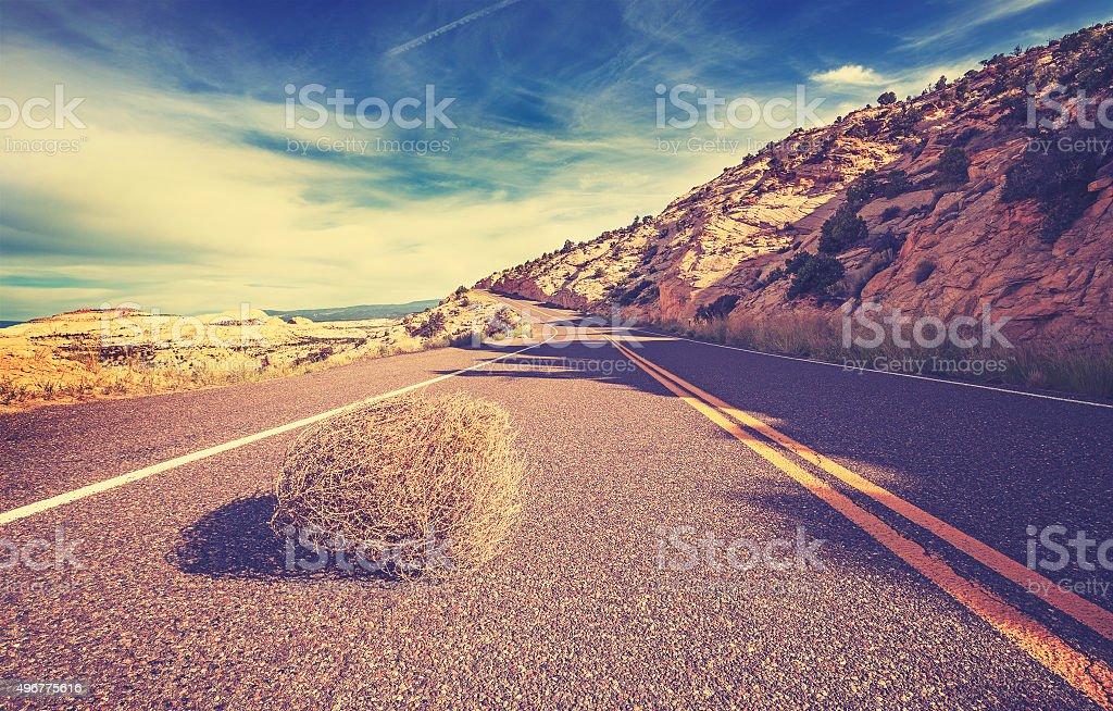 Vintage toned tumbleweed on empty road, travel concept. stock photo