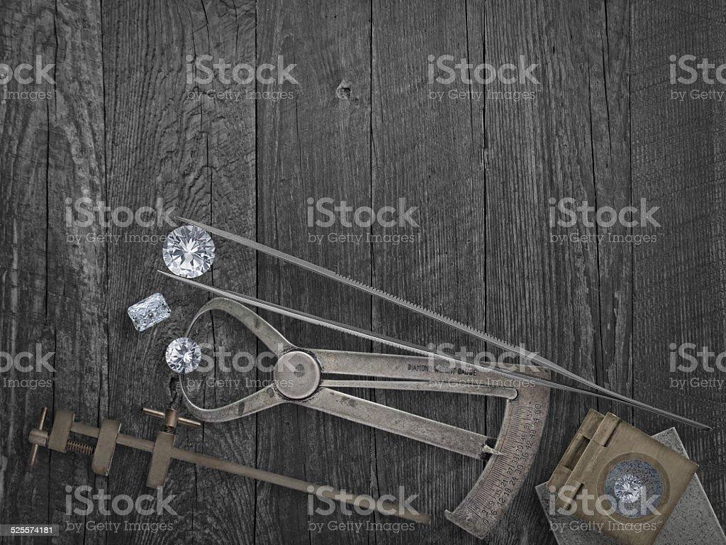 vintage tools and diamonds stock photo