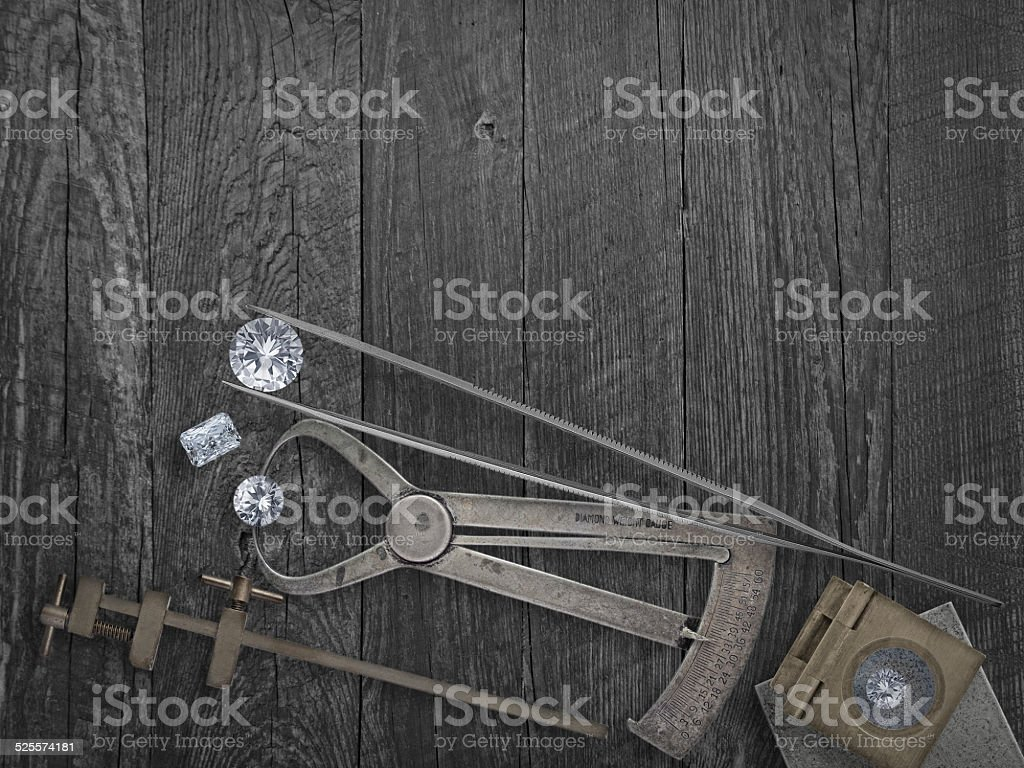 vintage tools and diamonds stock photo