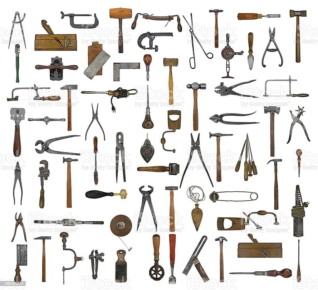 vintage tools collage stock photo