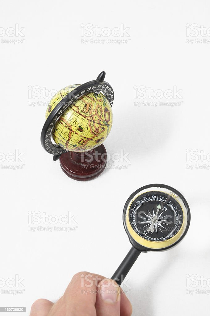 Vintage Tools Globe Compass and Loupe stock photo