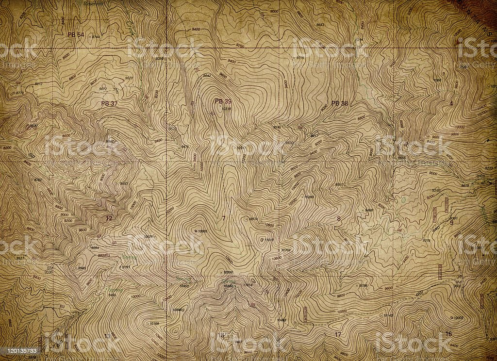 Vintage Topographical Map Texture royalty-free stock photo