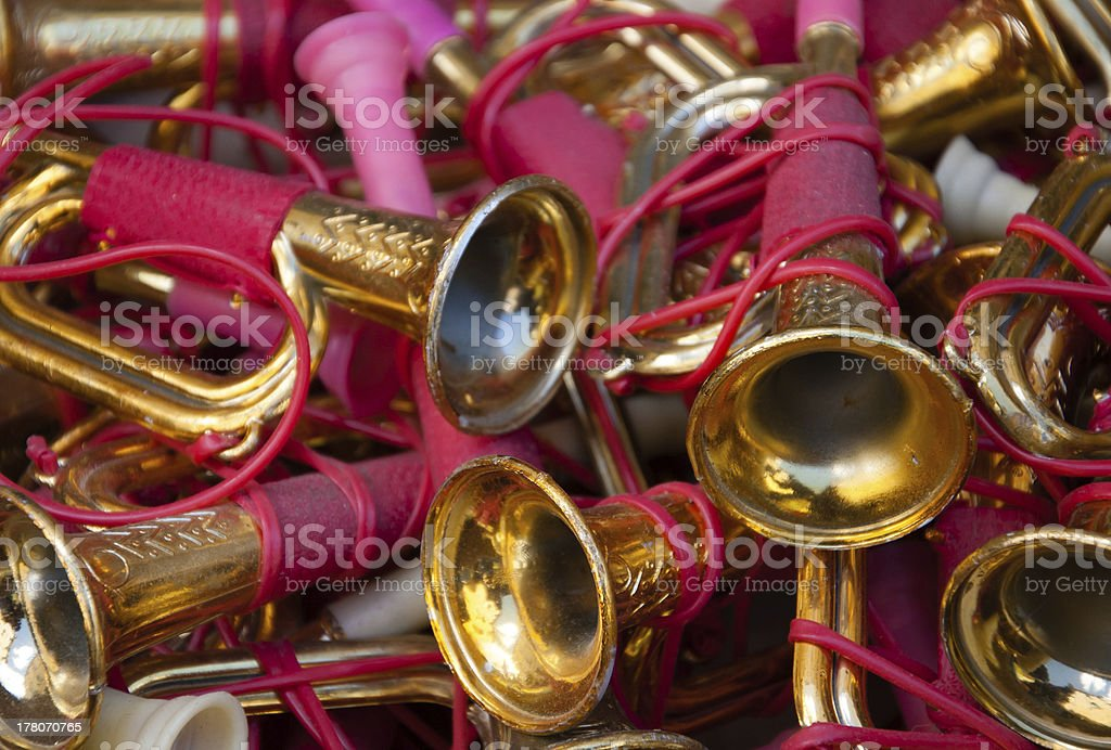 Vintage toy trumpets at flea market. royalty-free stock photo