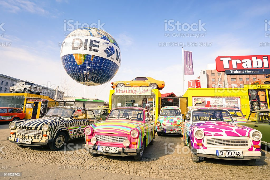 Vintage Trabant cars at Trabi Museum in Berlin stock photo