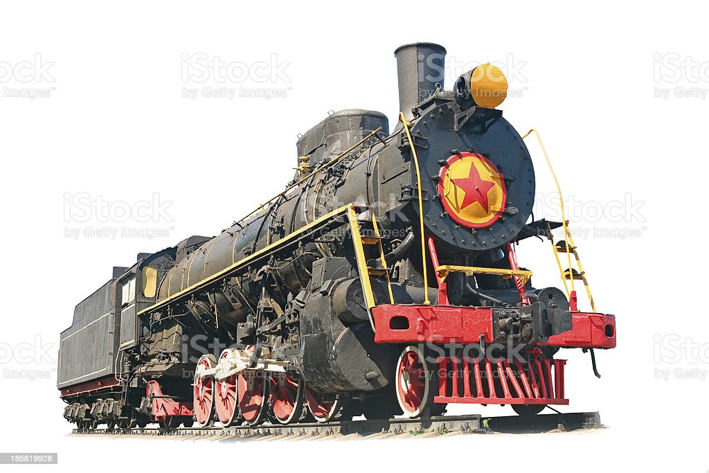 vintage train at an  white background royalty-free stock photo