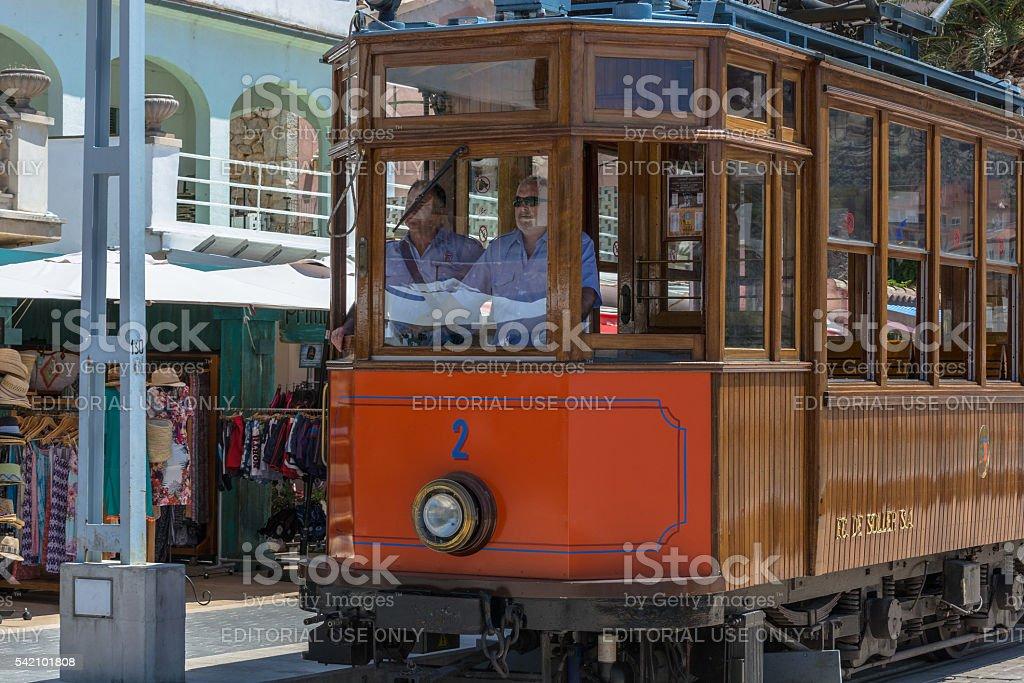 Vintage train, tram in Port de Soller, Mallorca stock photo
