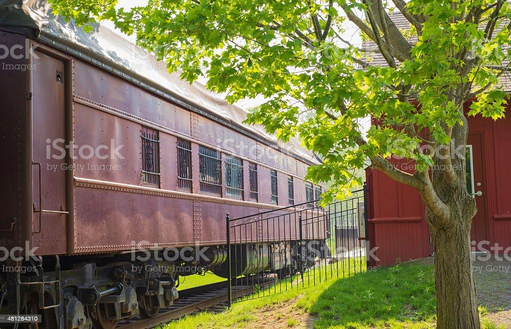 Vintage train wagon on old station stock photo