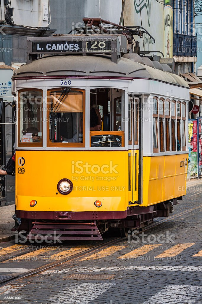 Vintage tram in the city center stock photo