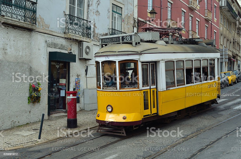 Vintage Tram Lisbon Portugal stock photo