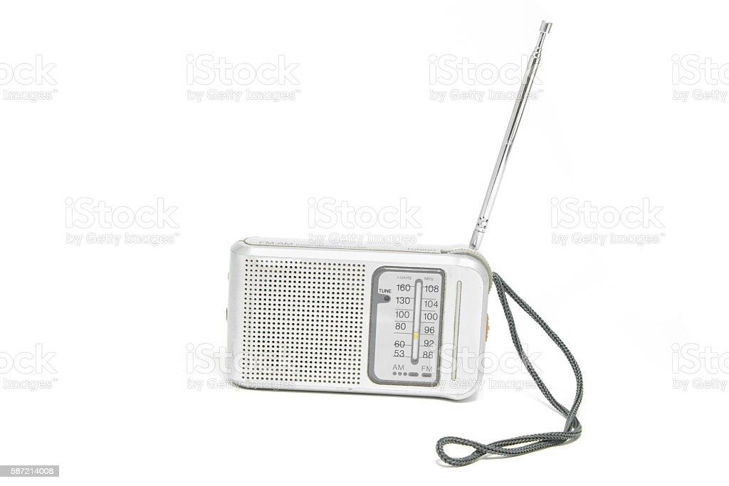 Vintage  Transistor Radio Isolated on White Background stock photo