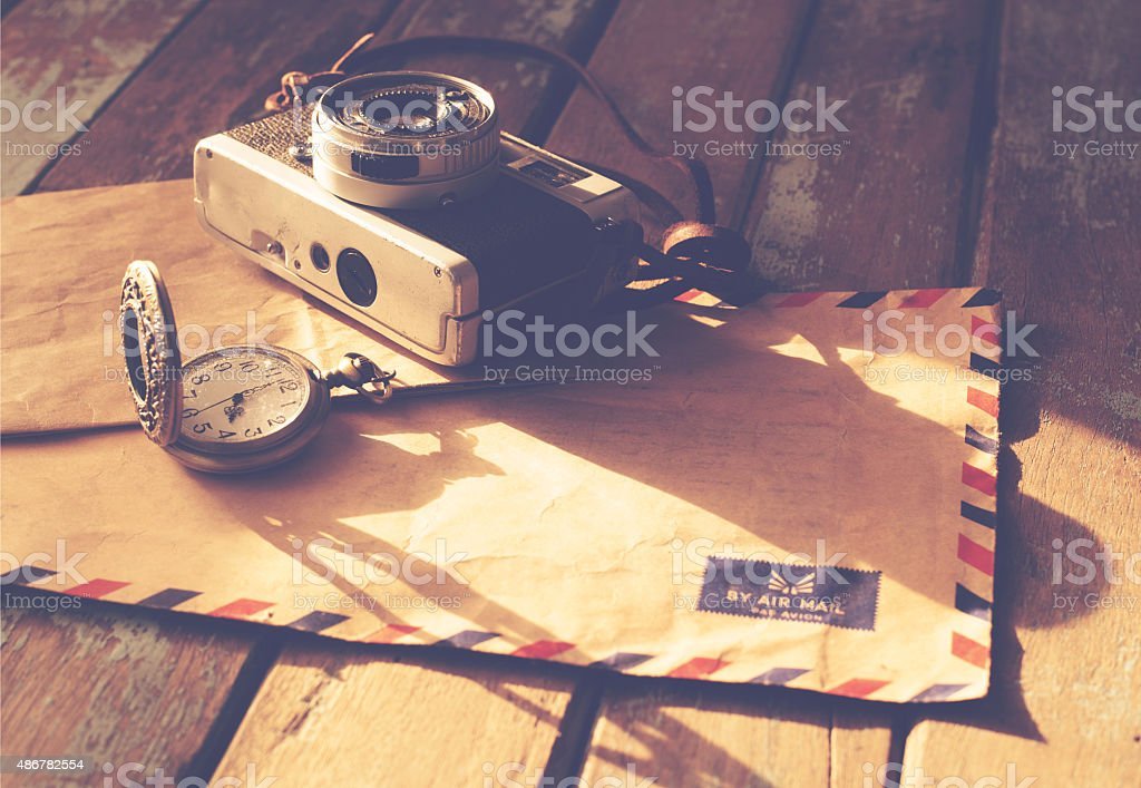 Vintage travel background stock photo