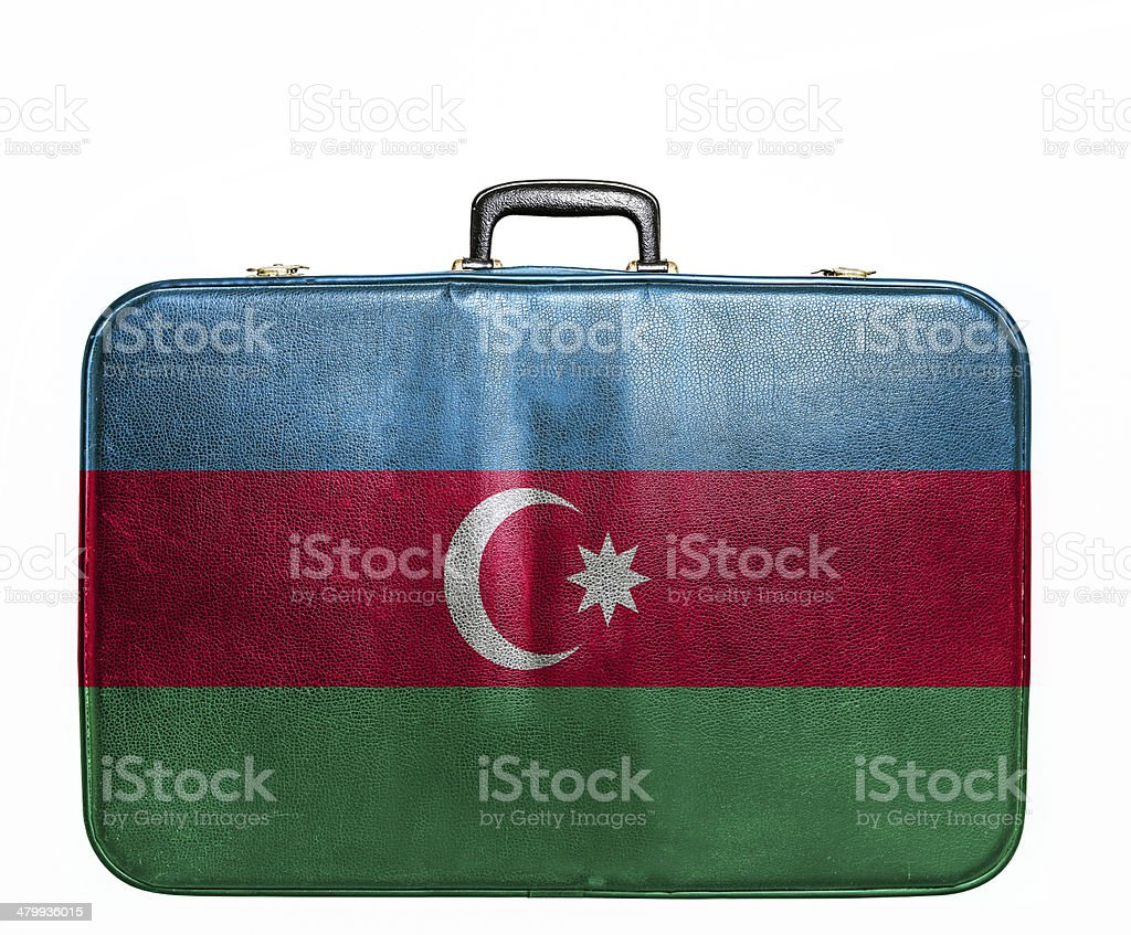 Vintage travel bag with flag of Azerbaijan royalty-free stock photo