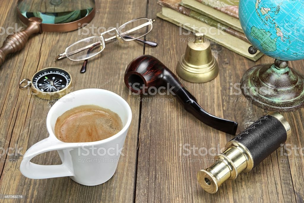 Vintage Travel Items On Wooden Table stock photo