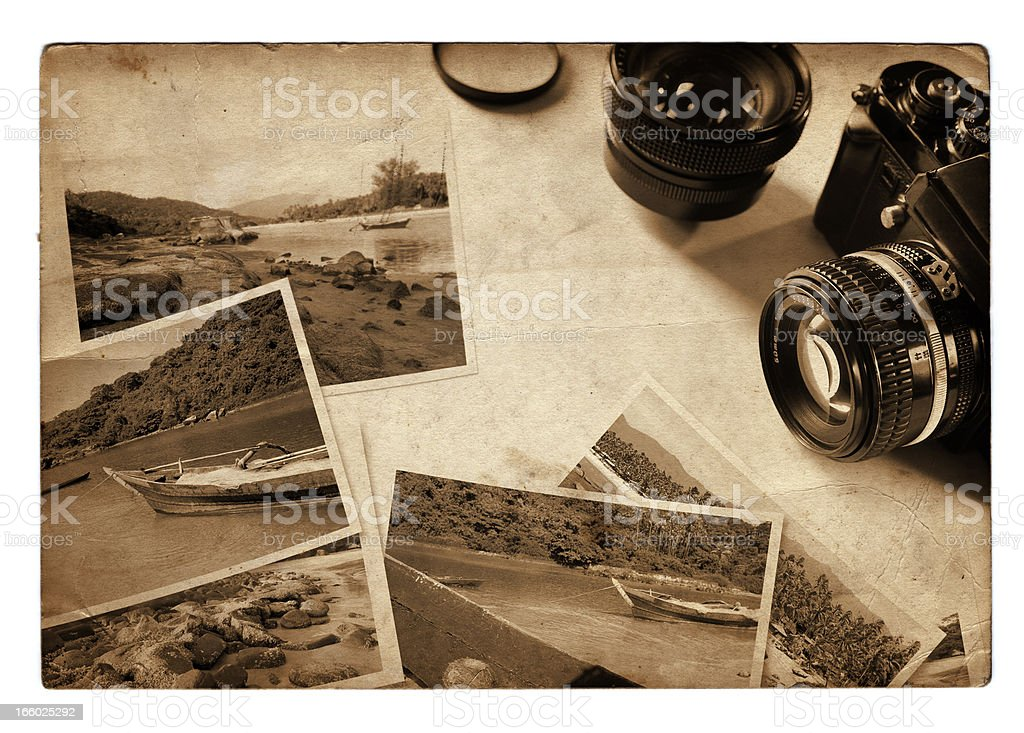 Vintage travel photos with analog camera, retro look, sepia toned royalty-free stock photo