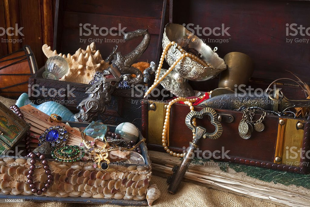 vintage treasure trunks with old jewellery royalty-free stock photo