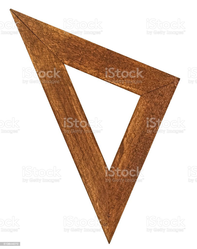 vintage triangle ruler stock photo