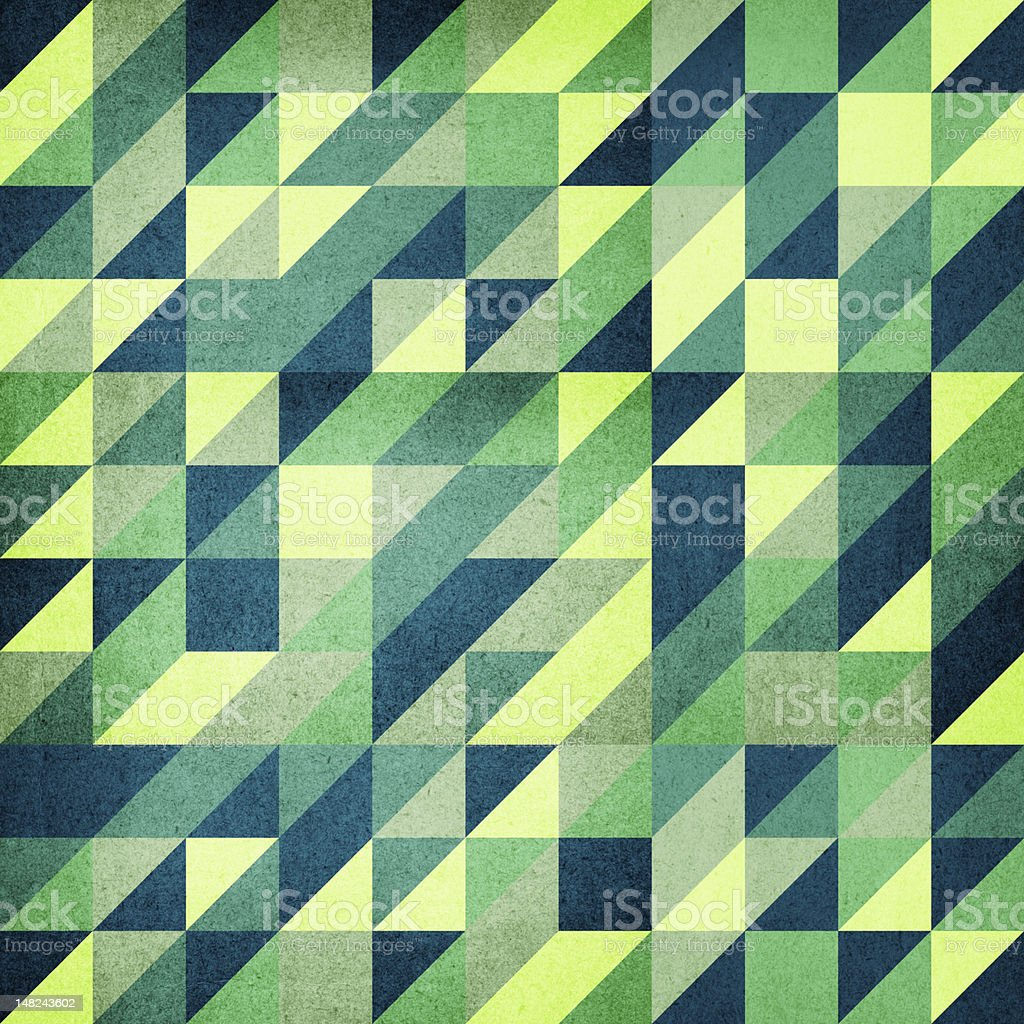 Vintage triangle-based background in green stock photo