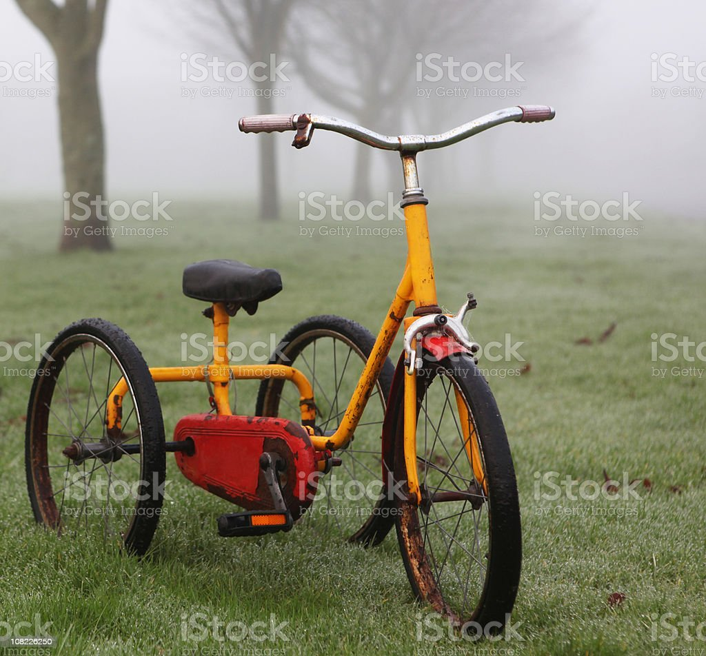 Vintage Tricyle Sitting in Foggy Park royalty-free stock photo