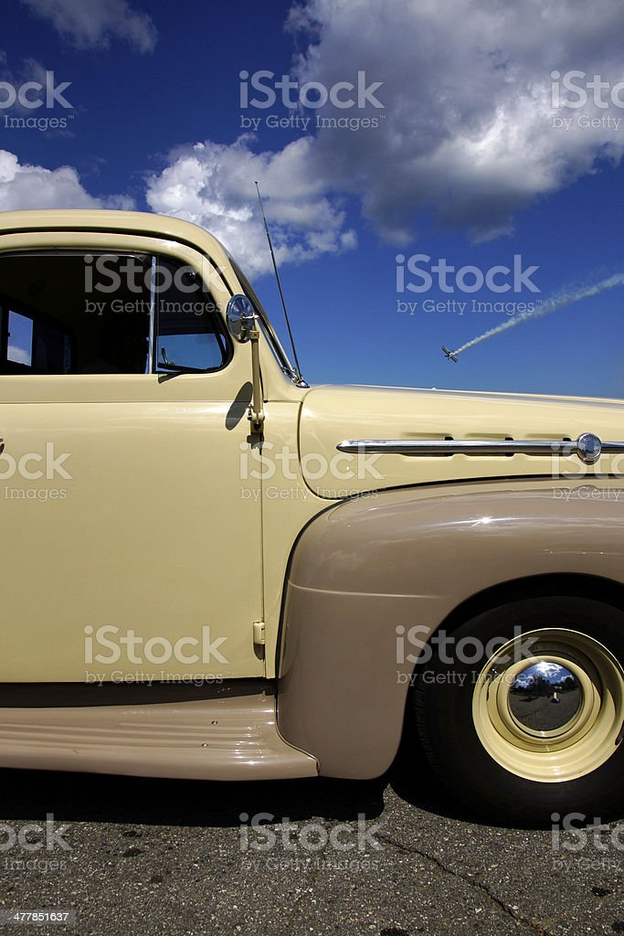 Vintage truck and airshow royalty-free stock photo