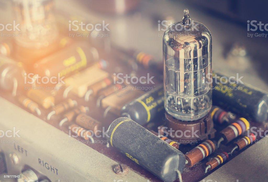 Vintage tube bulb used in Audio hifi in vintage tone stock photo