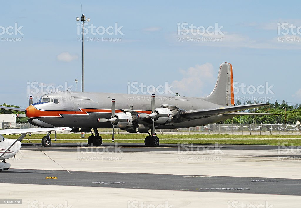 Vintage turboprop airplane stock photo