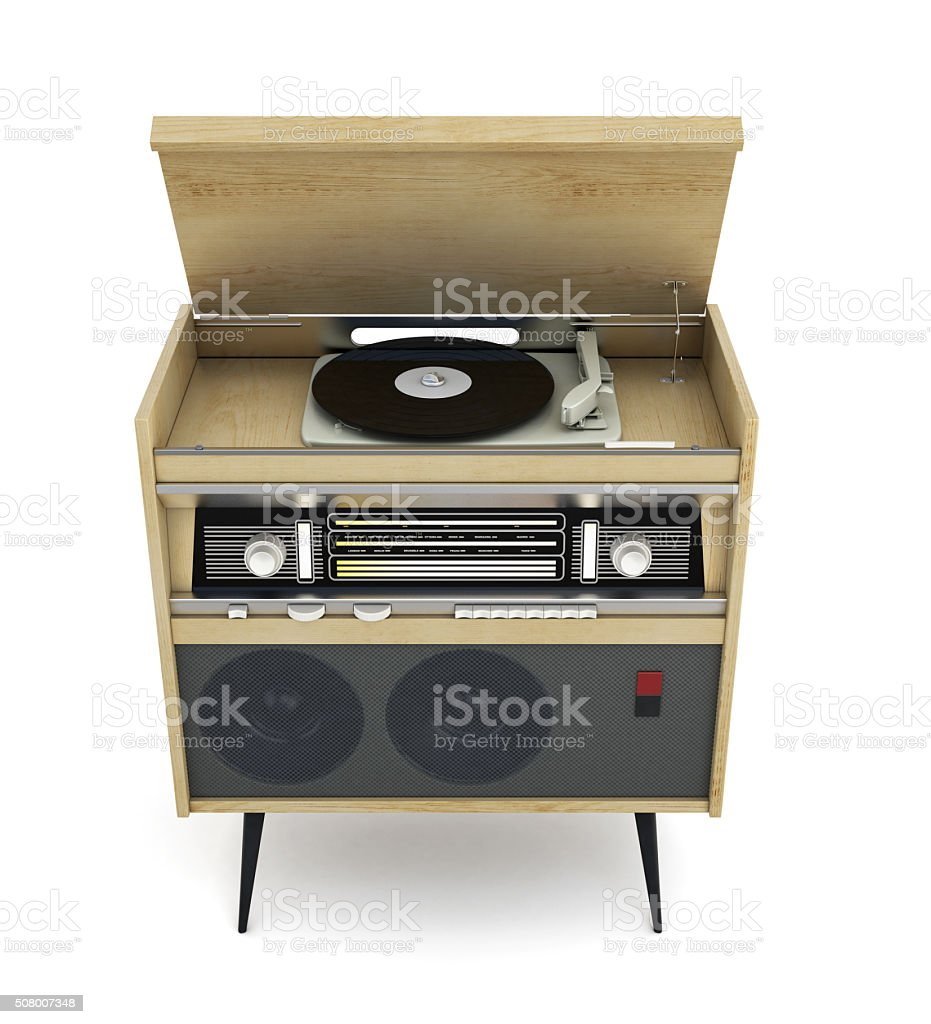 Vintage turntable with radio isolated on white background. 3d il stock photo