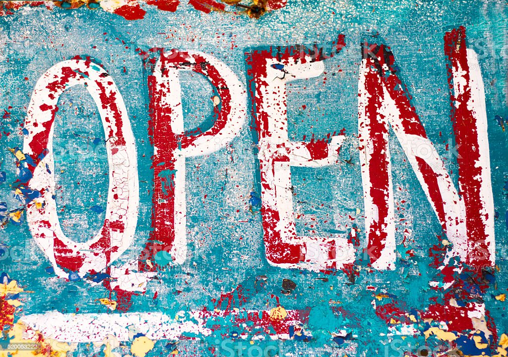 Vintage Turquoise and Red 'OPEN' Sign (Close-Up) stock photo