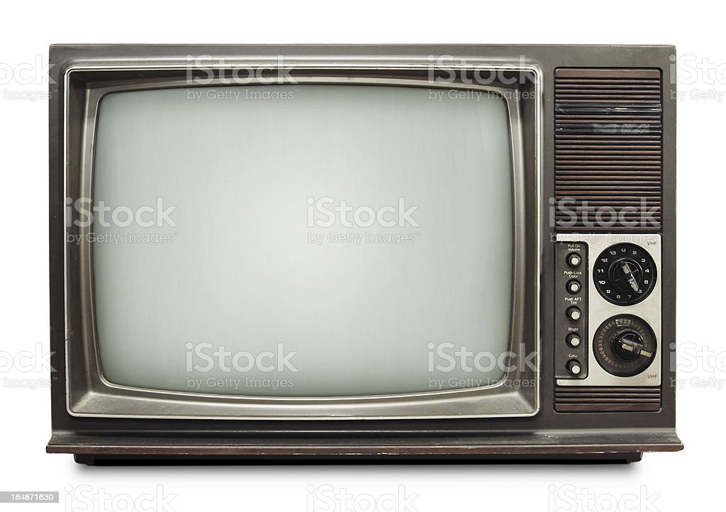 Vintage TV on white background with clipping path stock photo
