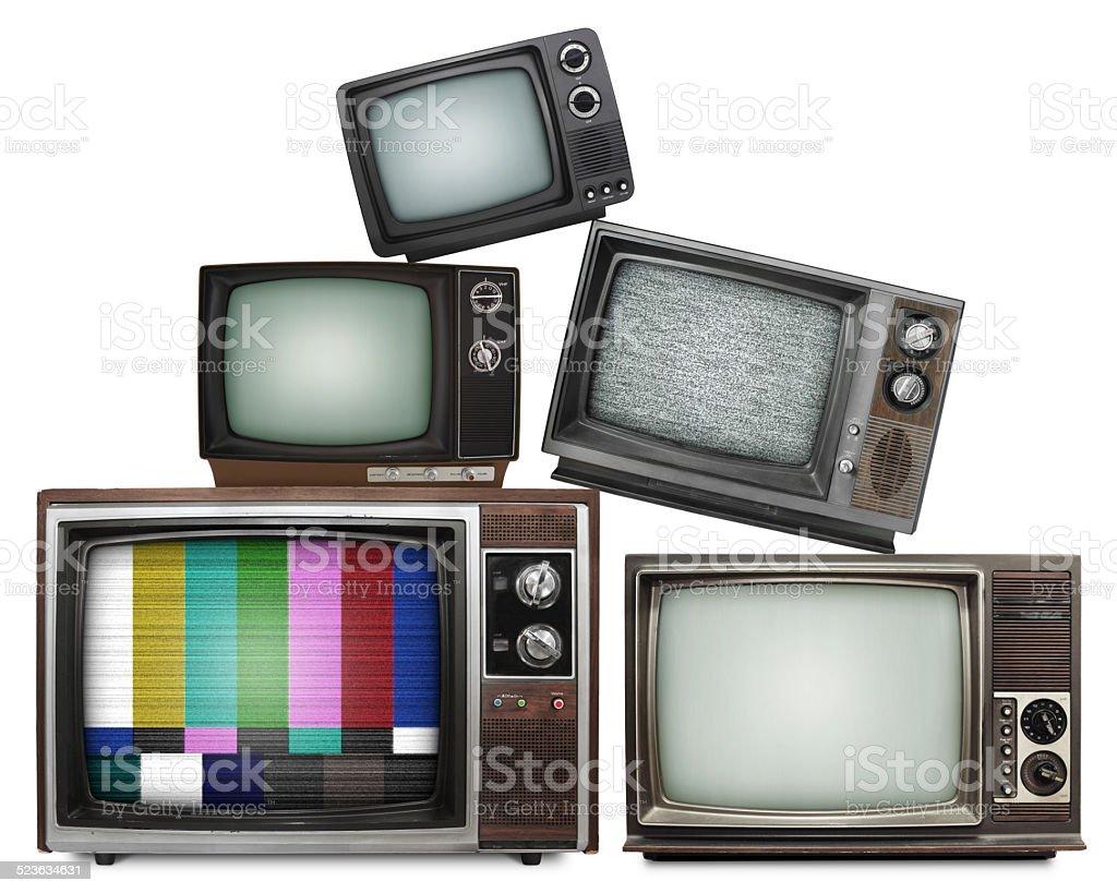 Vintage TV stack XXXL (with paths) stock photo