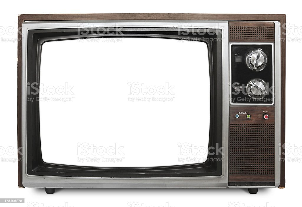 Vintage TV with blank screen stock photo