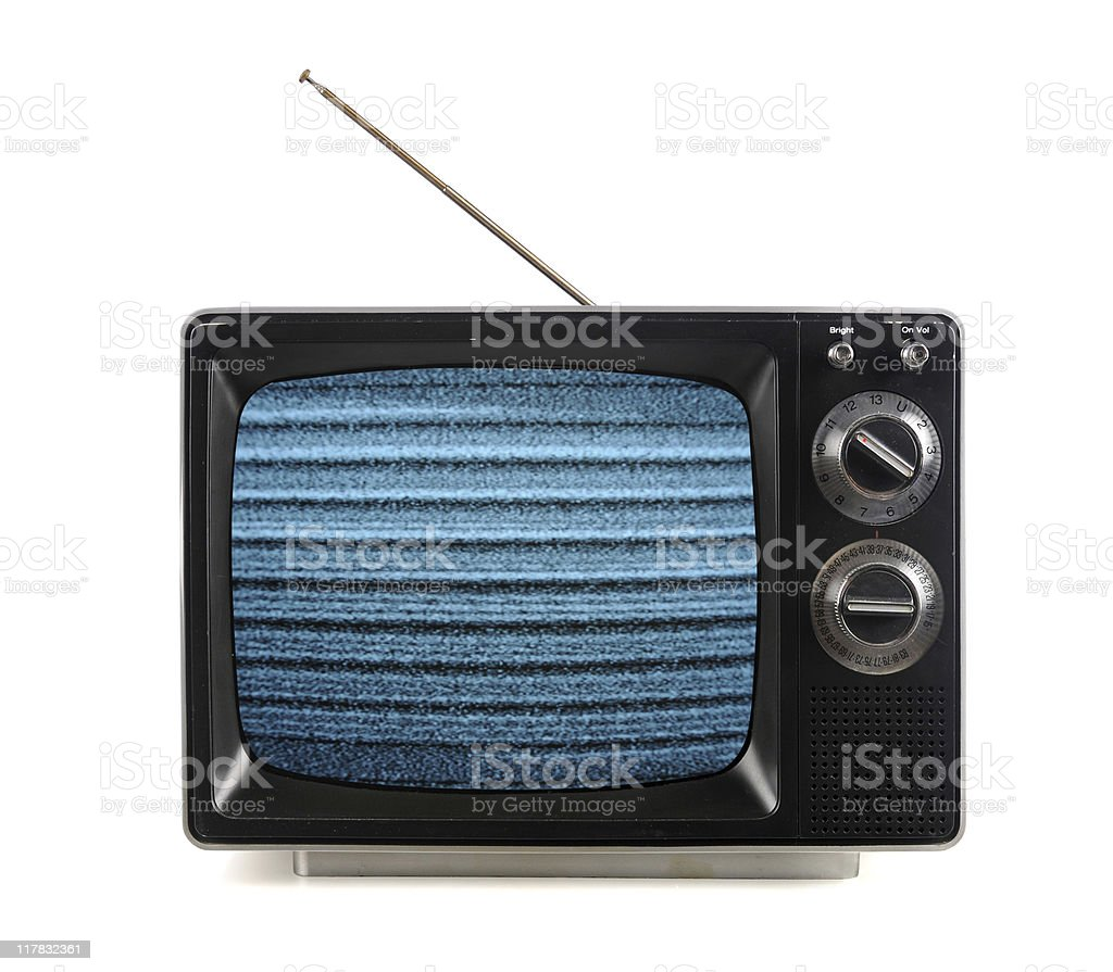 Vintage TV With Electronic Snow Patterns stock photo