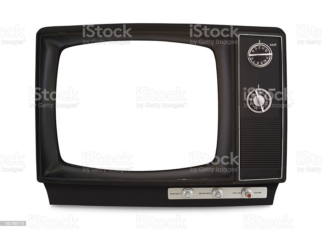 Vintage TV with knobs and blank screen royalty-free stock photo