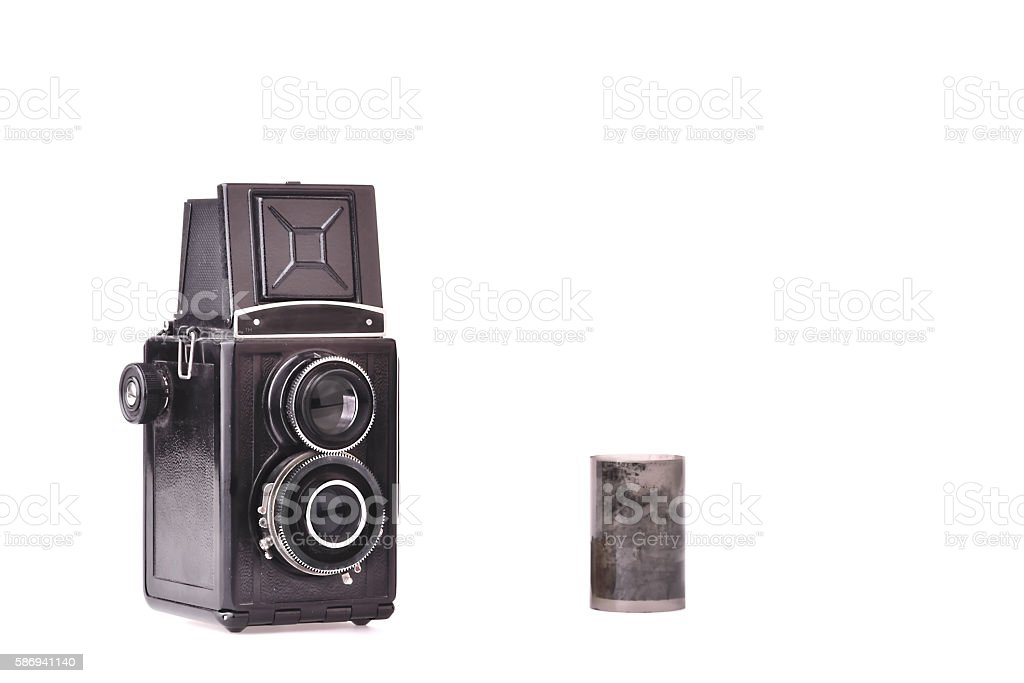 Vintage Twin Lens  Camera with Negative Film... stock photo