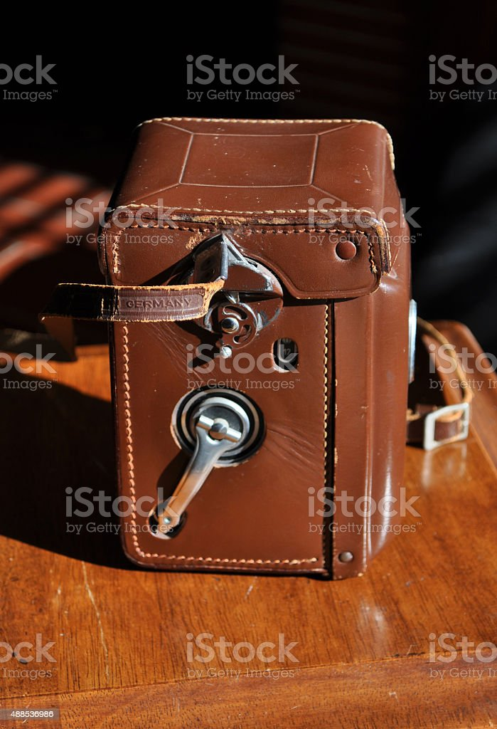 Vintage twin lens reflex box camera in a leather case stock photo