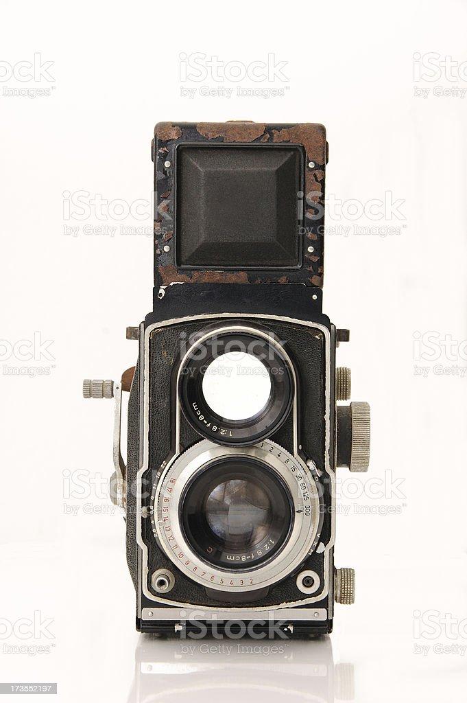 Vintage twin reflex camera stock photo