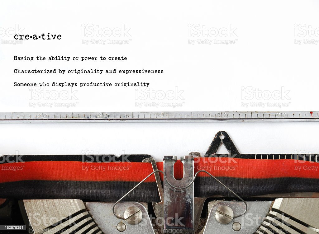 Vintage type writer typed word creative and definition  royalty-free stock photo