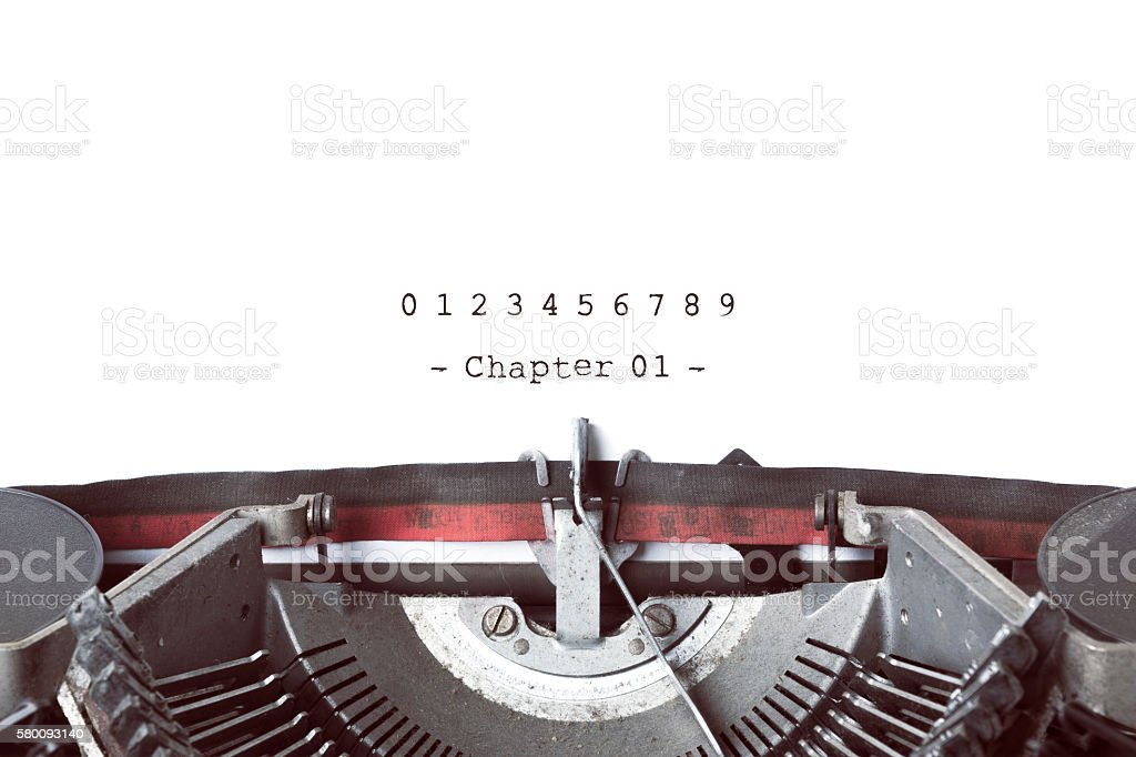 Vintage Typewrite Writing Book's Chapters. stock photo