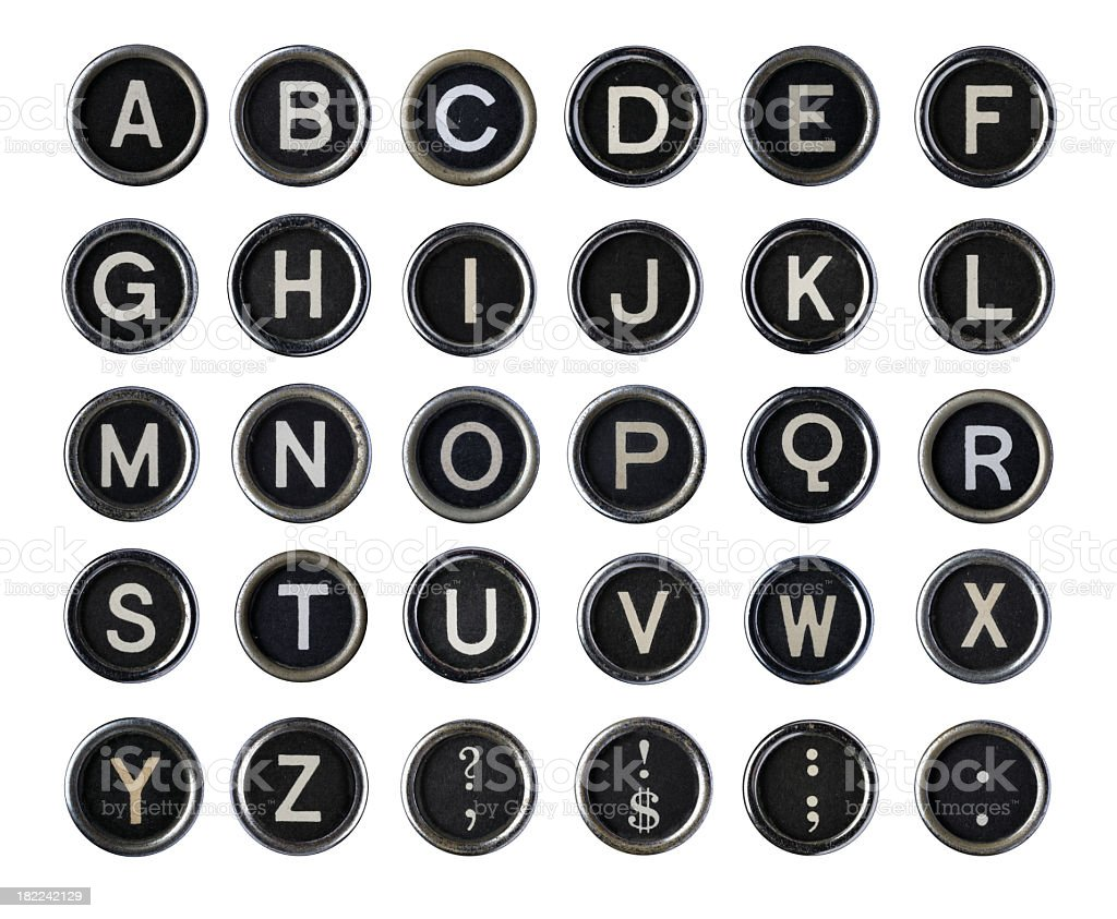 Vintage Typewriter Alphabet stock photo