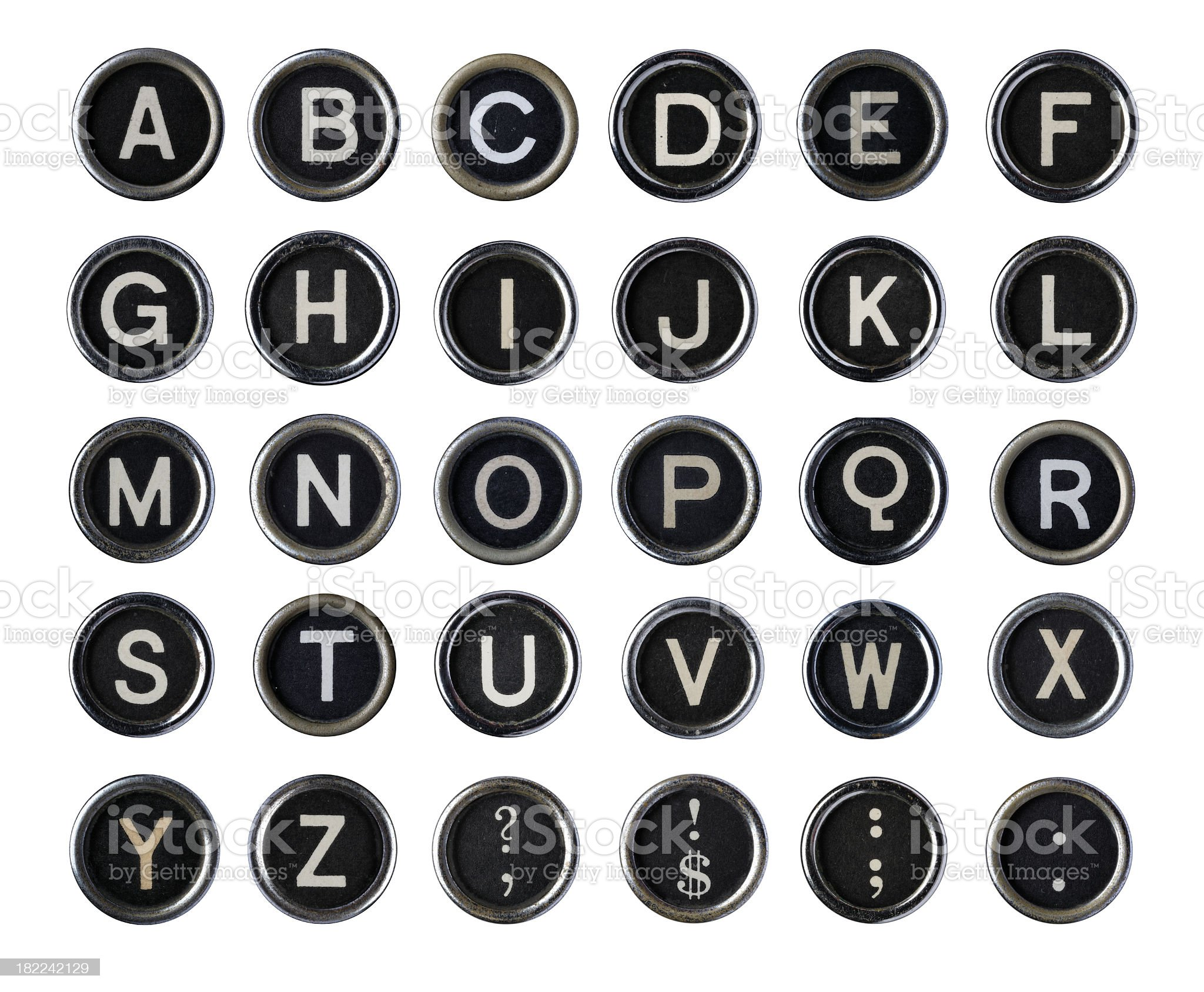 Vintage Typewriter Alphabet royalty-free stock photo