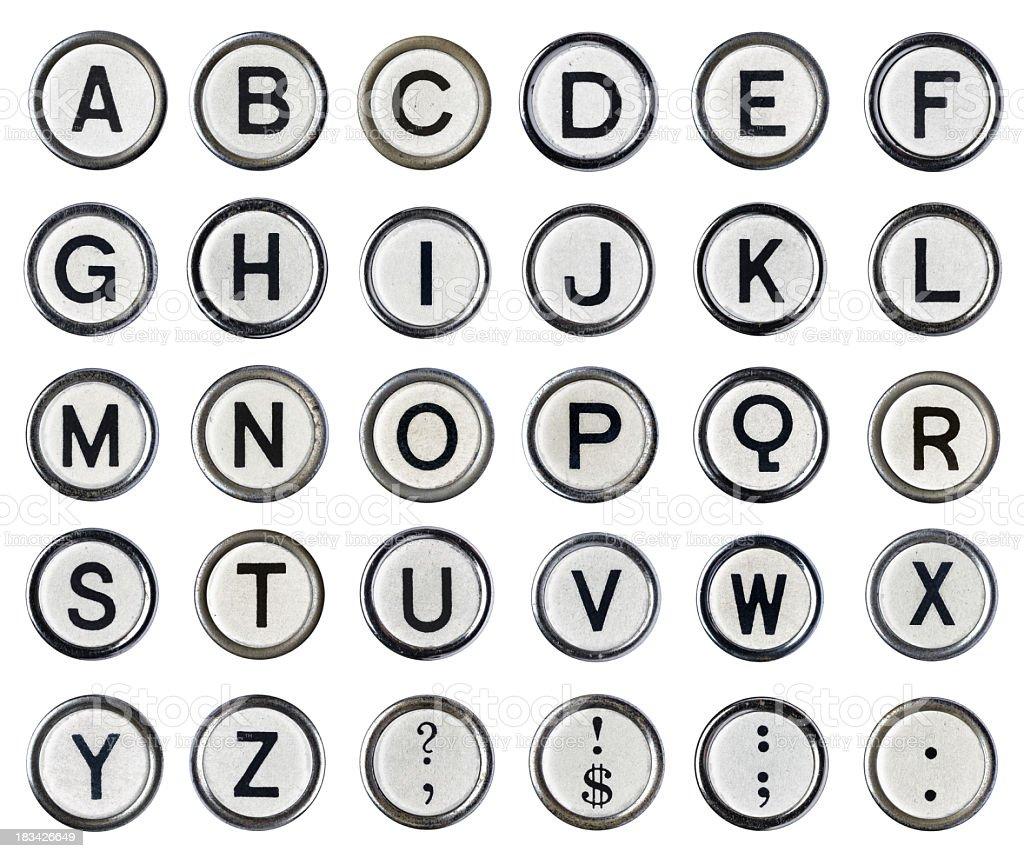 Vintage Typewriter Alphabet White stock photo