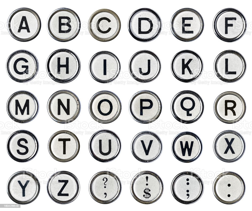 Vintage Typewriter Alphabet White stock photo
