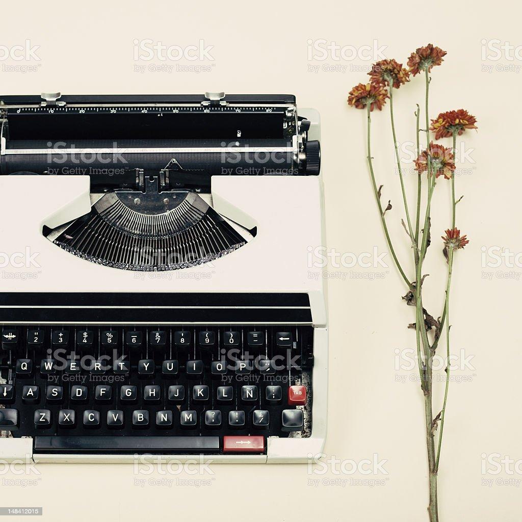 Vintage Typewriter and flowers royalty-free stock photo