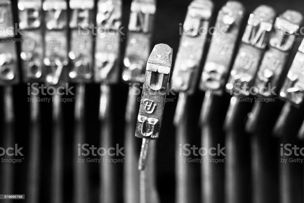 Vintage Typewriter and Old Glasses stock photo
